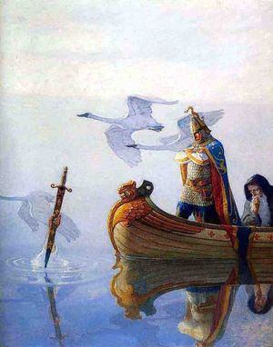 Arthur and Merlin in a boat, a hand reaching out of the water holding a sword