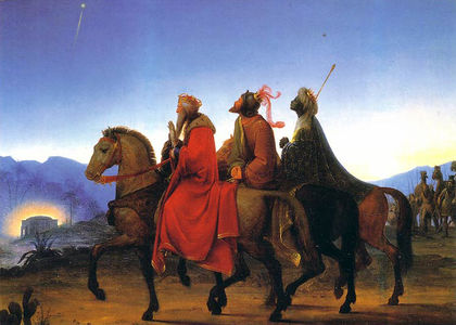 The Three Wise Men on horseback looking up to the star