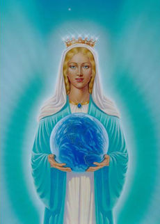 The Virgin Mary holding the globe of the earth in her hands