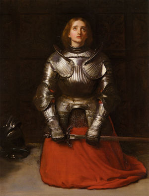 Joan of Arc, kneeling, dressed in armor, holding a sword
