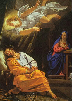 Saint Joseph, sleeping, an angel flying over him