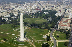 Aerial view of the Washington Monument and the White House