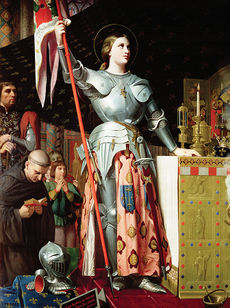 Joan of Arc at the altar of a cathedral, dressed in armor and holding a flag