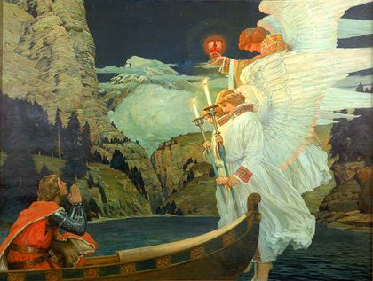 Knight in a boat, looking up to see three angels, one holding the Holy Grail
