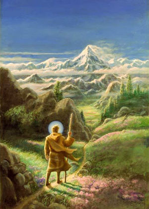 Painting of a chela walking along a pathway towards a distant mountain