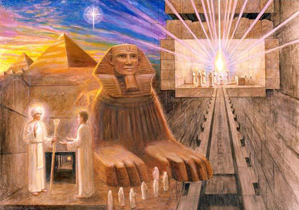 Serapis Bey with an initiate, with the Sphinx, the Great Pyramid and the King's Chamber